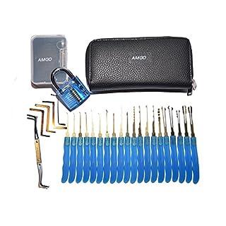 Anfänger Dietrich Set, AMGO blau 24-teiliges Lockpicking Set mit Transparente Übungs-Vorhängeschlösser für Einsteiger Schlosserei, Lockpick Satz in einem Etui
