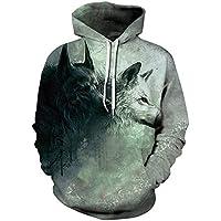 Zhengq Wolf Hoodies Men/Women 3D Sweatshirts Print Double Wolf Thin Hoody Hooded Hoodies Tracksuits Tops