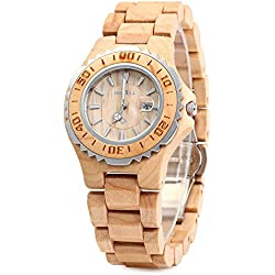 GBlife BEWELL ZS-100BL Womens Wooden Watch Analog Quartz Movement with Date Display Retro Style(Maple wood )