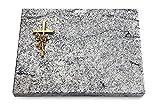 Generic Grabtafel, Grabplatte, Grabstein, Grabkissen, Urnengrabstein, Liegegrabstein Modell Pure 40 x 30 x 3-4 cm Viskont-White-Granit, Poliert inkl. Gravur (Bronze-Ornament Kreuz/Rose)
