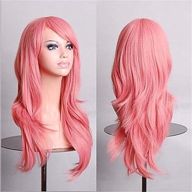 HJL-cosplay perruques 28 pouces rose fasion perruques synth¨¦tiques compl¨¨tes , light pink