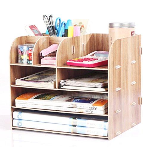 wysm Desktop Storage Box forniture per ufficio in legno portaoggetti finitura storage box scaffale libreria multistrato A4 Informazioni ( colore : Cherry )