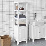 SoBuy® FRG205-W Badezimmer-Hochschrank Badregal Badschrank Badmöbel mit 3 offenen Fächern und Tür, weiß BHT ca: 40x150x33cm