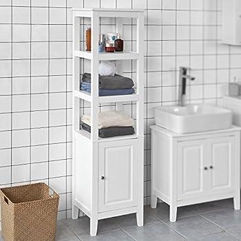 SoBuy® FRG205 W Badezimmer Hochschrank Badregal Badschrank Badmöbel Mit 3  Offenen Fächern Und