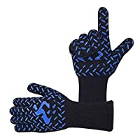 JSF Grilling Gloves BBQ Oven Heat Resistant Mitts up to 800 ℃ / 1472℉ with 5 Fingers for Grilling Cooking Baking Roasting(Black and Blue)