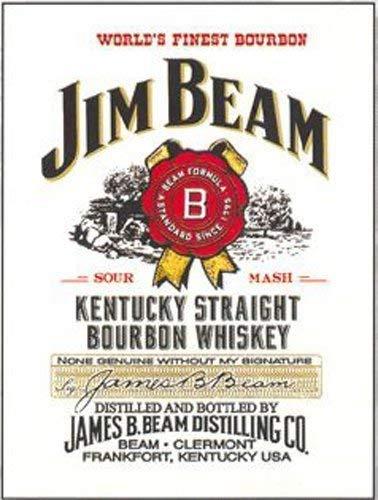 Jim Beam Kentucky Straight Bourbon Whisky. Flasche Label mit Stempel. Drink. Whisky Flasche. Für Kneipe, Bar, House, Zuhause oder in der Küche. Aus Metall/Stahl Wandschild, stahl, 30 x 40 cm Diagonal Beam