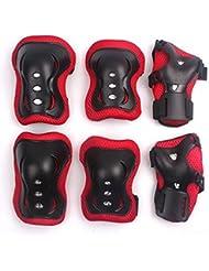 Los Niños de 6 PC de Patinaje Sobre Ruedas de la Muñeca del Codo Rodilleras Equipo de Protección de 3-13 Años de Edad VSOAIR (rojo)