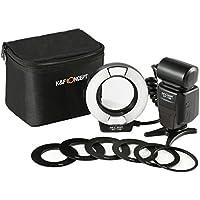K&F Concept® KF-150 TTL Ringblitz Makro Blitz Ring Blitzgeräte Ringleuchte für Canon SLR/DSLR mit AF-Hilfslicht Adapterringe Leitzahl 14