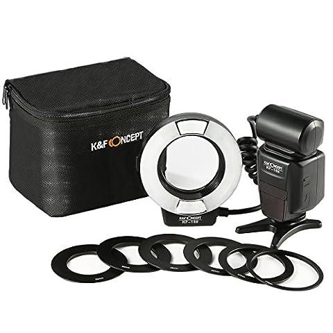 K&F Concept KF-150 TTL Makroblitz Ringblitz Ringleuchte Blitzgerät für Nikon DSLR GN 14 mit AF-Hilfslicht Adapterringe