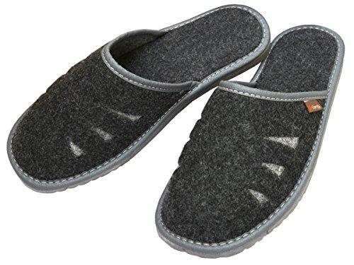 BeComfy Herren Filzpantoffeln Hausschuhe Pantoffel Filz profilierter Einlage Geschenkkarton (Wahlweise) Modell FM71 Schwarz