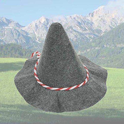 Seppelhut grau mit Kordel, Oktoberfest, in 2 verschiedenen Varianten erhältlich, 1er Pack (rot/ weiß) (Mardi Gras Outfits Jungs)