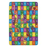 HOOTDYA Bathroom Bath Rug Kitchen Floor Mat Carpet,Board Game,Cute Snakes Smiling Faces Numbers in Squares Ladders Childrens Kids Play Print,Multicolor,Flannel Microfiber Non-slip Soft Absorbent