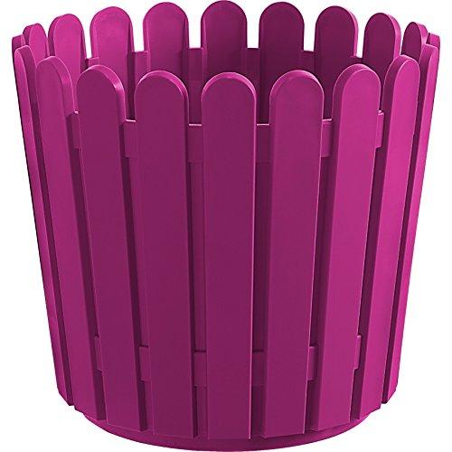 Emsa 513069 Blumenkübel, Rund, Landhaus-Stil, 11 Liter, Pink, Landhaus