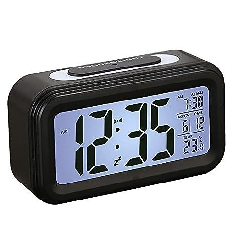 Digitaler Wecker, SEGURO Extra Großem LCD Anzeige Wecker Uhr mit Temperatur, Datum, Schlummerfunktion, Sensorlicht und Nachtlicht Digitale Wecker Batteriebetriebener Alarm Clock