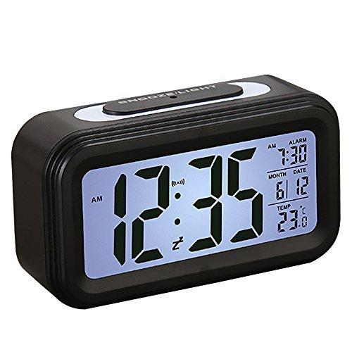 Despertador, SEGURO Reloj Digital con LCD Gran Pantalla Digital Alarma Despertadores Reloj con Información de Fecha, Función Snooze, Indicador de Temperatura, Sensor Luminoso y Luz Nocturna