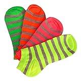 Footstar 8 Paar Sneaker Socken Damen Mädchen, leuchtende neon Farben, gelb grün orange pink, Ringelsocken schön bunt (8 Paar neon gestreift, 35-38)