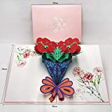 JSGJHK Muttertagsgrußkarte Elder Thanks Card Premium-Geburtstags-Stereokarte 3d Wunschkarte, Nelkenstrauß 15cm * 20cm