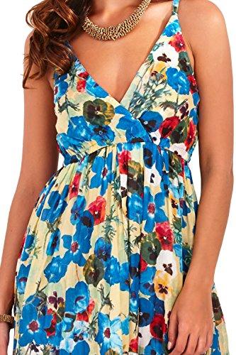 Magnifique robe longue de plage/vacances à bretelles pour femmes 100% coton à motif floral coquelicot, bleu ou rouge Bleu