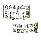 Love-KANKEI Bilderrahmen Collage Fotorahmen Holzbilderrahmen in Wäscheleinenoptik mit 30 kleinen Holzklammern, 2+1 Kombination