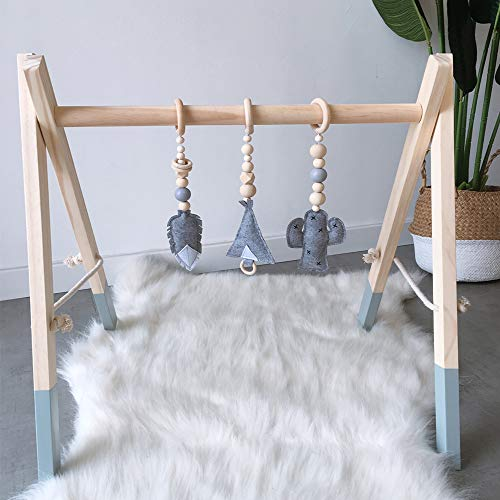 HB.YE Wooden Baby Play Gym with Hanging Rattle Rings + Felt Stuffed Pendant, Foldable Activity Gym for Toddler, Infant, Girls, Boys | Feather & Cactus, Grey Frame