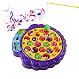 Musical Fishing Toy Game Board with 4 Fishing Rods and 21 Fishes Soft Music Adjustable for Kids Over 3 Years - HongC - amazon.co.uk