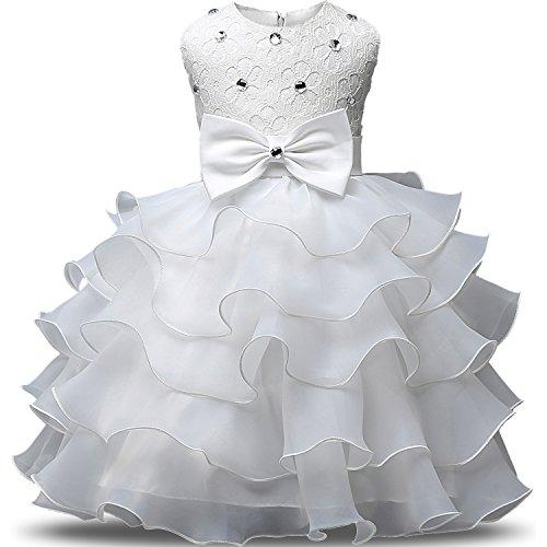 NNJXD Vestito da Ragazza Festa in Pizzo per Bambini Abiti da Sposa Taglia(90) 12-24 Mese Bianca