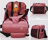 Trona portátil para bebés. Asiento plegable de viaje. Alzador infantil con bolsillos. Se acopla al respaldo de cualquier silla. Bolsa para transportarla (Incluida)