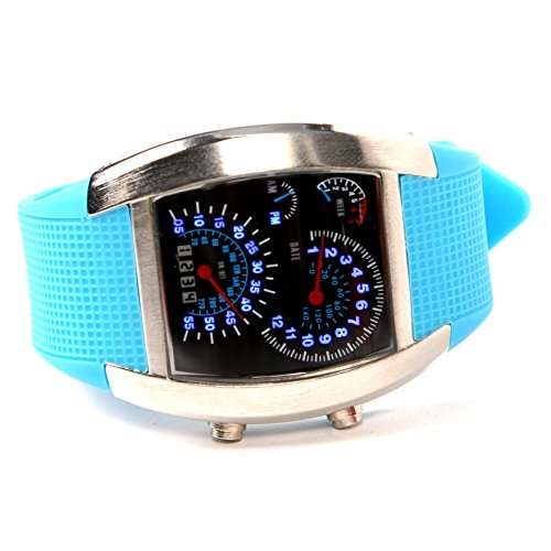 TOOGOO(R) LED Uhr Sektor Sport Auto Meter Zifferblatt Maenner und Frauen Armbanduhr (blau)
