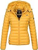 Marikoo Damen Jacke Steppjacke Übergangsjacke gesteppt Frühjahr Camouflage B619 [B619-Ein-Gelb-Gr.L]