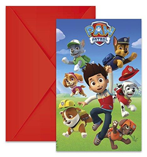 Paw Patrol 6 Einladungskarten mit Umschlag