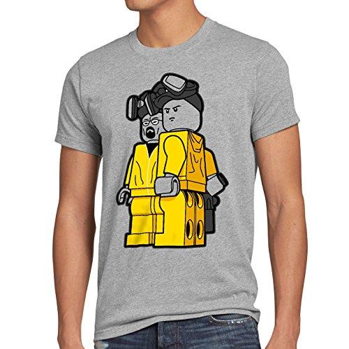 style3 Brick Bad T-Shirt Herren white meth walter crystal breaking tv serie, Größe:L;Farbe:Grau meliert
