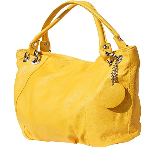 BORSA A SPALLA MEDIA IN PELLE DI VITELLO MORBIDO 3005 Giallo