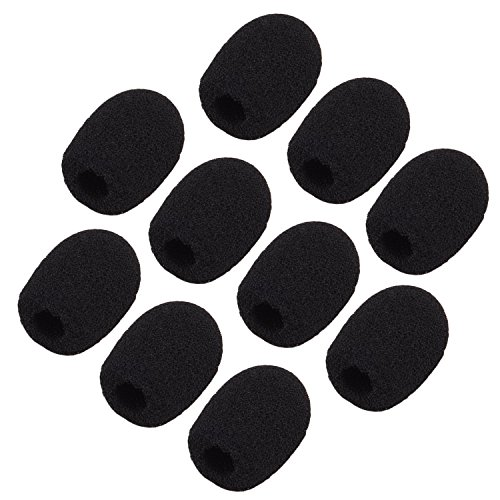 sunmns ch05-cover Mini micrófono de solapa micrófono parabrisas cubierta de espuma, negro, 10piezas