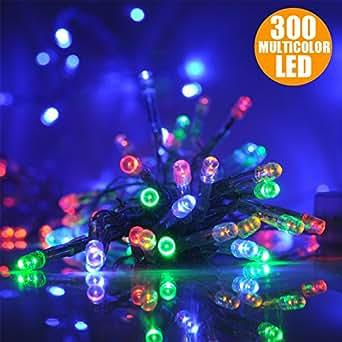 Catena Luci a LED Luminosa Natalizia 28,5 Metri 300 LED Multicolor con giochi di luce, cavo verde, luci di Natale, luci Multicolor, luci per l'albero di Natale, Con Controller per 8 Giochi di Luce e Memoria, Antipioggia Per Uso Interno ed Esterno