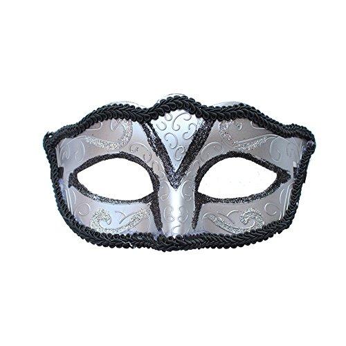 (PromMask Masken Gesichtsmaske Gesichtsschutz Domino falsche Front Halloween Männer und Frauen Make-up Abschlussball Maske Halb Gesicht Maske Silber)