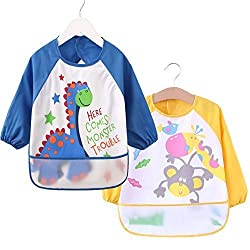 [2 Pack] Baby Bibs with Pocket,100% Polyester Fiber Bibs for Teething Feeding Baby_CLRST5f