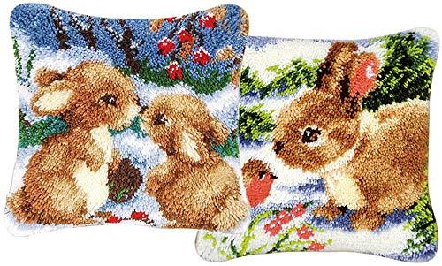 Morning May 2 Set Dekorative Kaninchen Knüpfhaken Kits Stickerei Kissenbezug Kissenbezug 43 x 43 cm -