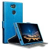 Terrapin, Kompatibel mit Sony Xperia L2 Hülle, Leder Tasche Case Hülle im Bookstyle mit Standfunktion Kartenfächer - Hellblau EINWEG
