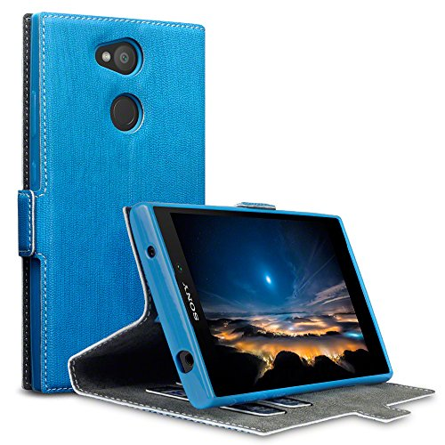 Terrapin, Kompatibel mit Sony Xperia L2 Hülle, Leder Tasche Case Hülle im Bookstyle mit Standfunktion Kartenfächer - Hellblau