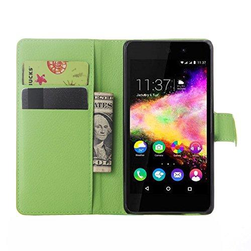 Nadakin Wiko Rainbow Up Hülle , Premium Leder Schutzhülle Flip Mappen Kasten Abdeckung,Handyhülle aus Taschenhülle mit Kreditkartenhaltern, Standfunktion, Geldbeutel, Magnetverschluss für Wiko Rainbow Up (Grün)