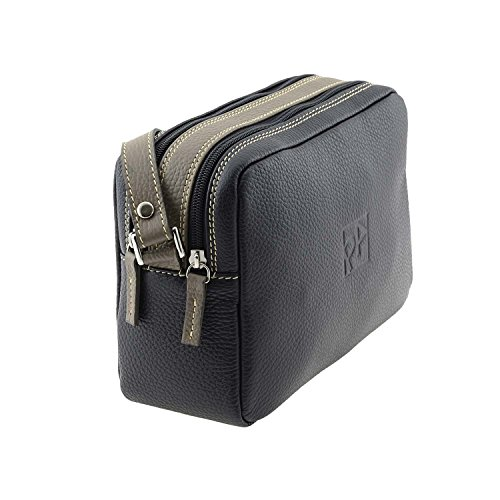 Similpelle due cremagliere NEGRO/TAUPE