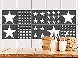 GRAZDesign 770510_10x10_FS10st Fliesen-Aufkleber Set weiß grau Sterne | Folie für Badezimmer-Fliesen | Dusch-Fliesen überkleben (10x10cm//Set 10 Stück)