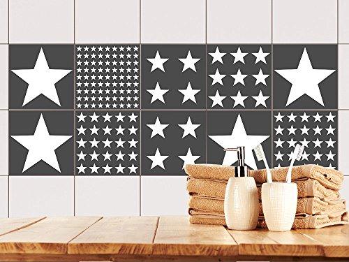 ... Graz Design Fliesen Aufkleber Set Weiß Grau Sterne | Folie Für  Badezimmer Fliesen ...