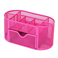 Cattliy Mesh Pen and Pencil Holder,Multifunctional Office School Desk Caddy Tidy Organisers,Desktop Stationery Organizer Storage with Drawer Hot Pink