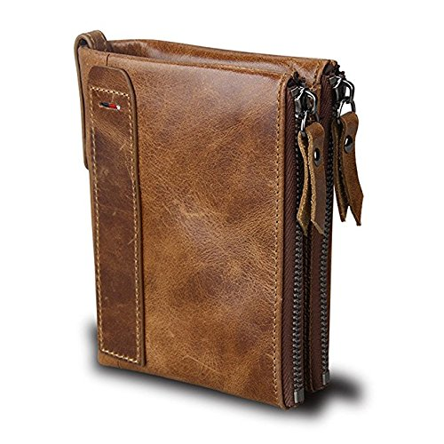 Wallets For Men RFID Blocking Bifold Genuine Leather Vintage with Double Zipper Pockets (Zipper Wallet)