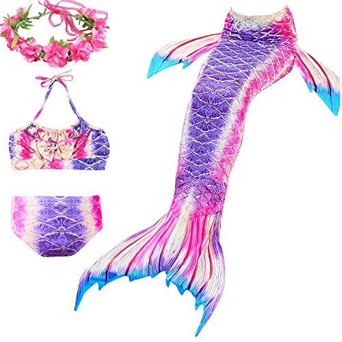 DECOOL Mädchen Meerjungfrau Schwanz Badeanzug - Prinzessin Cosplay Bademode für Das Schwimmen mit Bikini Set,3-12 Jahre alt(no monifin)