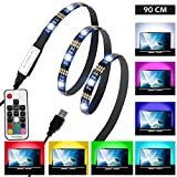 USB LED Strip Lights TV Backlight, Laluztop 35.43inch 90cm RGB Multi-Color Waterproof Bias Lighting with RF Remote Control for HDTV Desktop PC Monitor Decorations