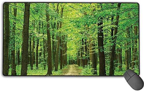 Erweiterte Mauspad Matte, dick, bequem, wasserdicht & faltbare Matte, für Laptop, Computer & PC - Farm House Decor Collection - Pfad im Wald entlang Bäume Laub Waldlandschaft - 15,7 \'x 29,5\' Zoll
