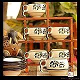 Bamboo Print Ceramic Cup Saucer(Set of 6)