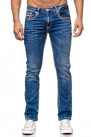 ae168271b0a34d Rusty Neal Straight FIT DUNKELBLAU Dicke NAHT Herren Jeans Hose BLAU Denim  7444  Amazon.de  Bekleidung
